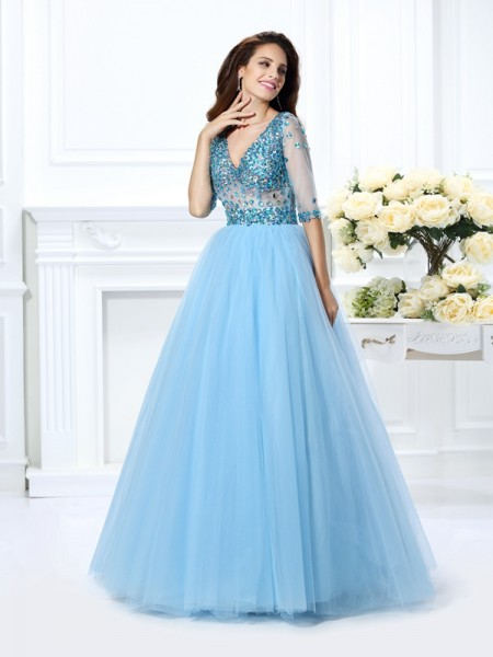 Robe de bal Col en V Perles Demi Manches Longue Satiné Quinceanera Robes