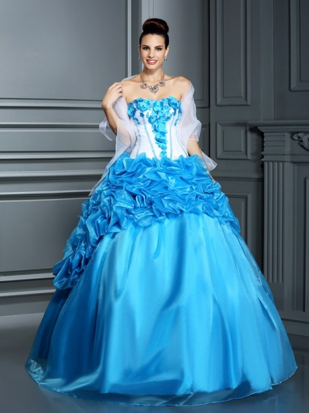 Robe de bal Col en coeur Volants Sans Manches Longue Satiné Quinceanera Robes