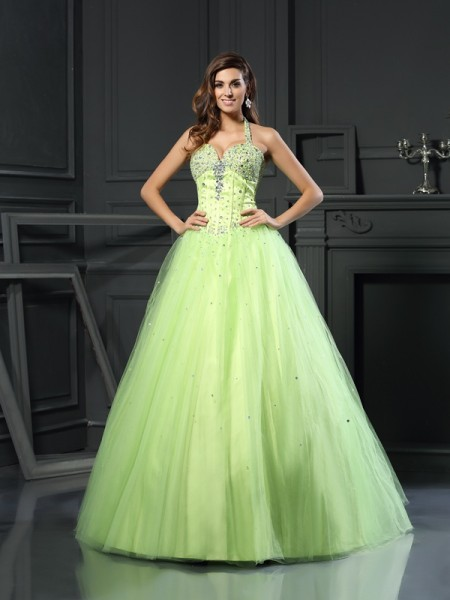 Robe de bal Licou Perles Sans Manches Longue Satiné Quinceanera Robes