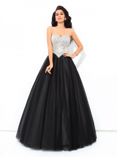 Robe de bal Col en coeur Paillette Sans Manches Longue Net Quinceanera Robes