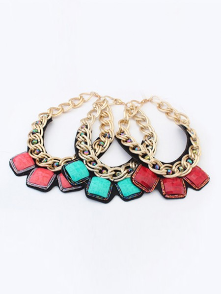 Occident Hyperbolic Metallic thick chains Personality Grosses soldes Collier