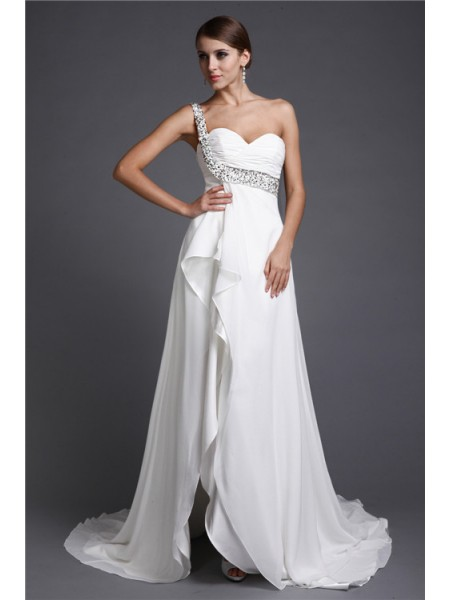 A-ligne/Princesse One Shoulder Sans Manches Longue Perles Mousseline de soie Robe de Cocktail